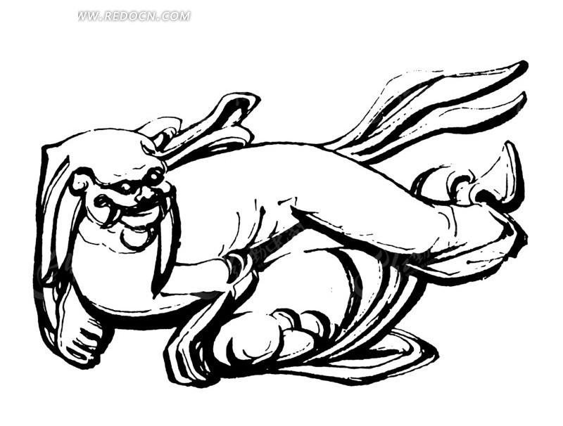 中国古代雕刻-趴着的侧头的斑驳的动物