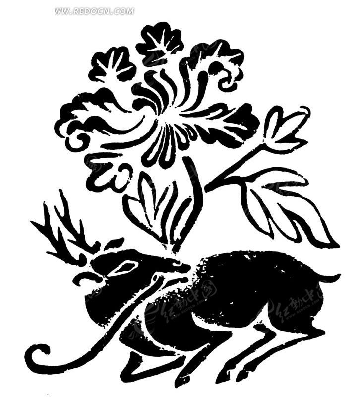 中国古典图案-衔着花朵叶子的鹿构成的斑驳的图案图片