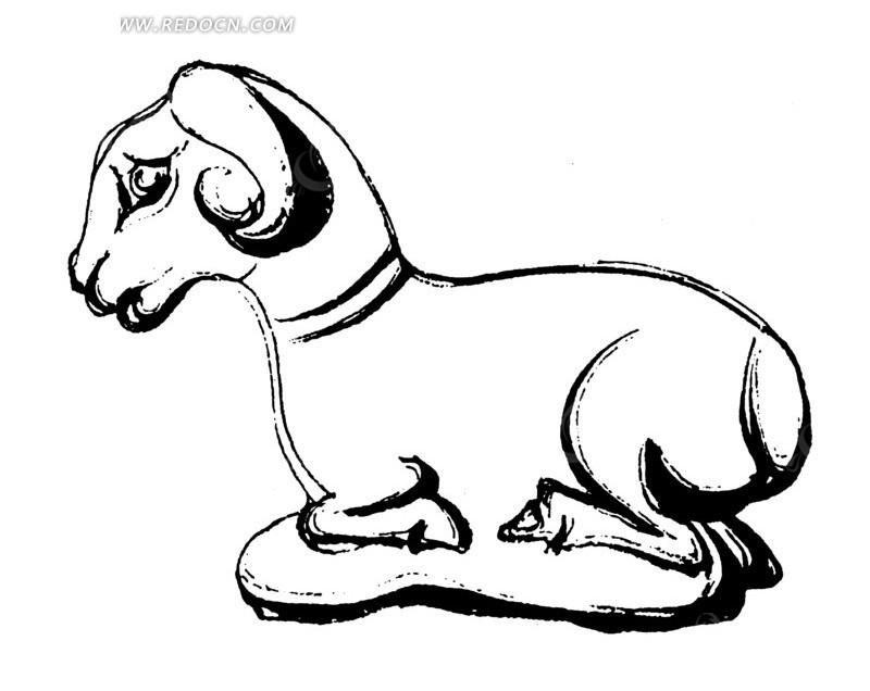 手绘木雕山羊