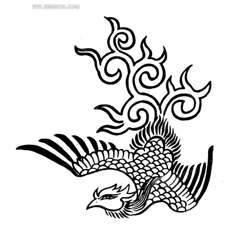 免费素材 矢量素材 艺术文化 传统图案 手绘细长眼卷草尾倒凤凰
