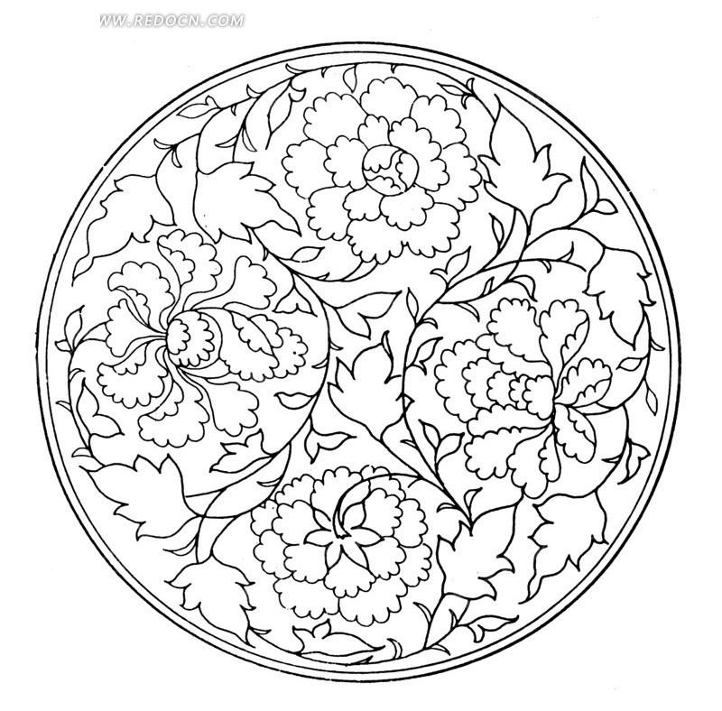 圆形 牡丹花