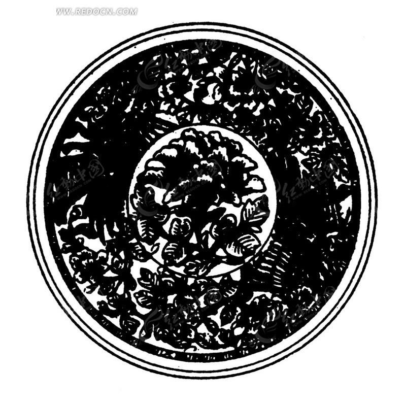 古代黑白花纹圆形矢量素材