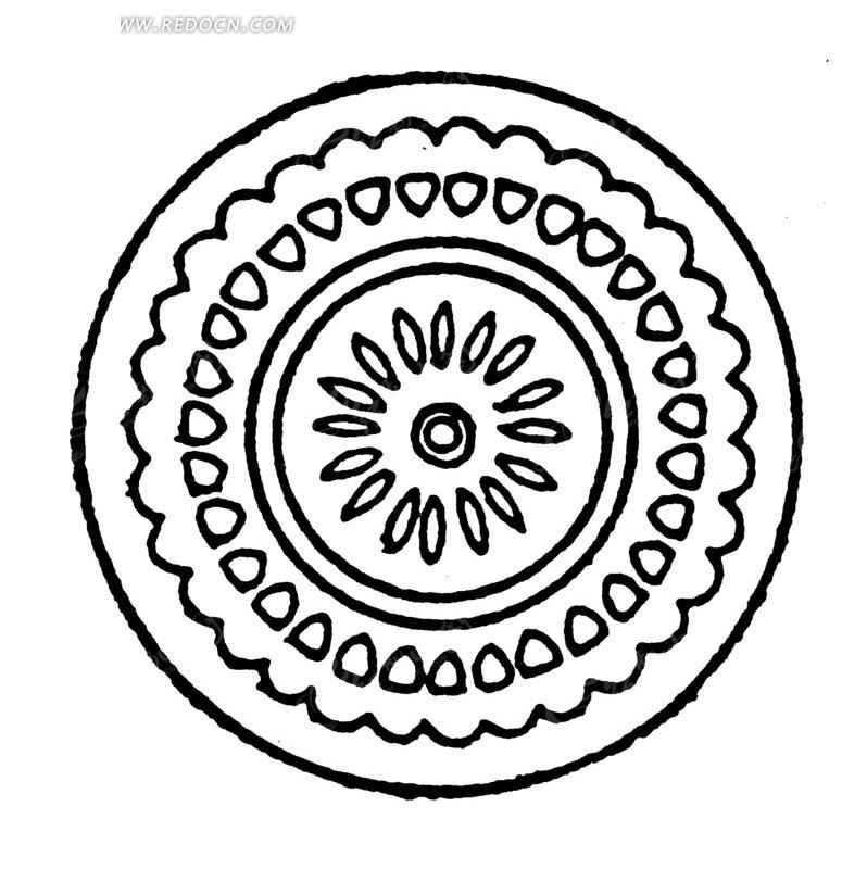 中国古典图案-花朵和几何形构成的斑驳的圆形图案