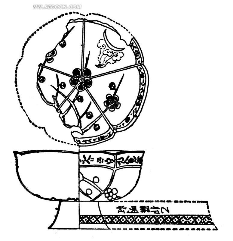 中国古代器物-碗状古物上的花朵花蕾