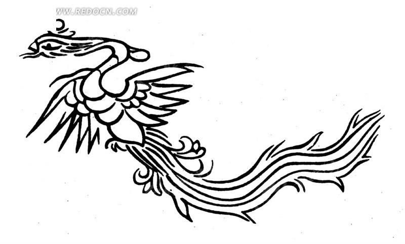 手绘舞动的凤凰ai素材免费下载_红动网