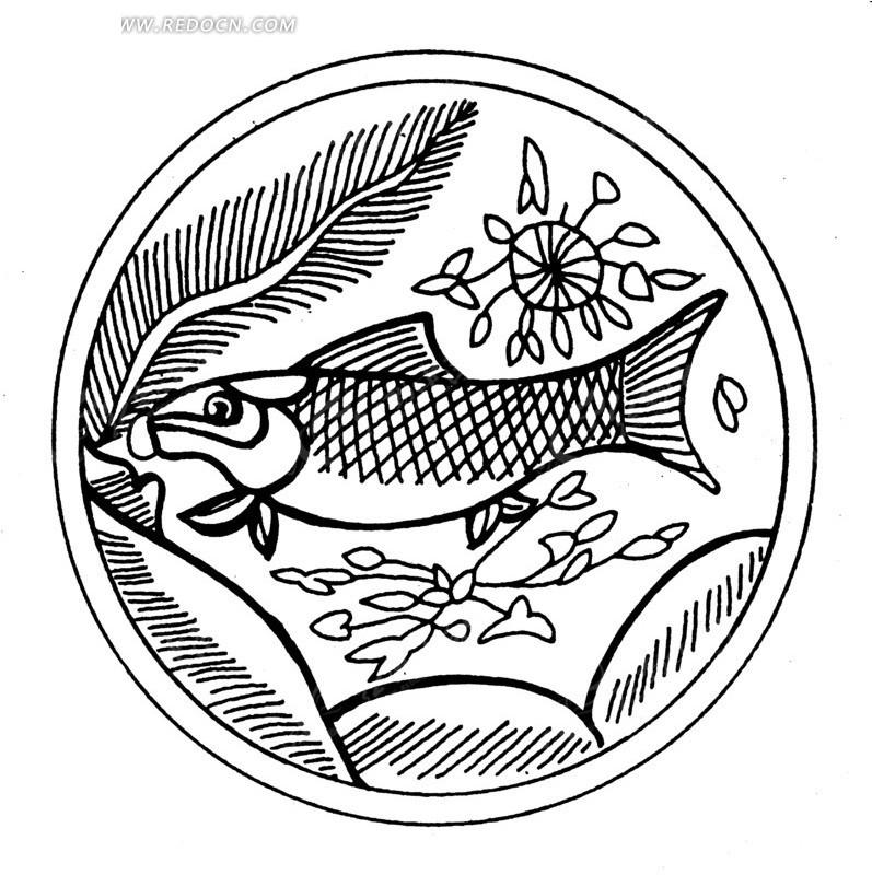 手绘荷塘叶蔓中鲤鱼