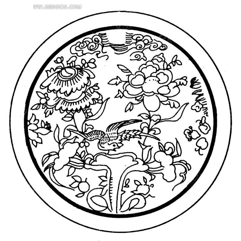 花朵 叶子 圆形图案 中国风 中国古典 艺术 装饰 黑白  传统图案 矢量
