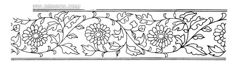 手绘藤蔓菊花横幅
