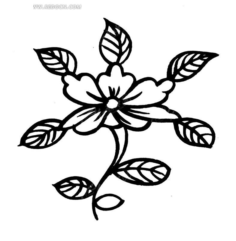 古代黑白花型图案矢量素材
