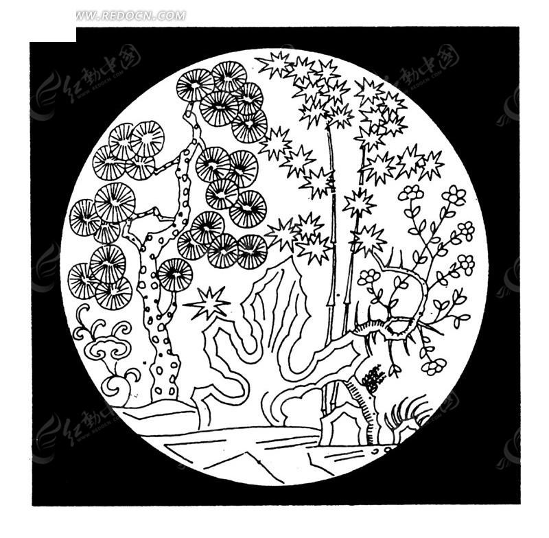 中国古典图案-树木湖石构成的圆形图案图片