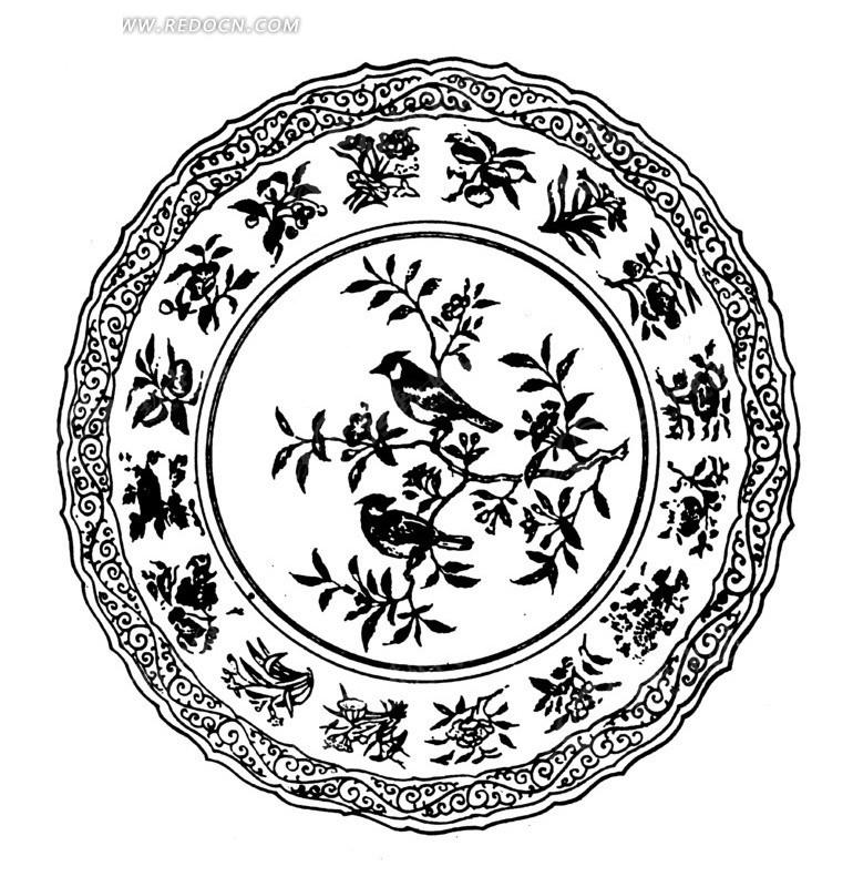 古代黑白花鸟纹圆形矢量素材矢量图