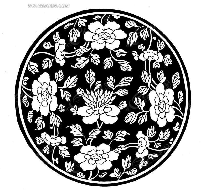 中国传统圆形牡丹花纹饰