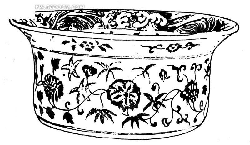 矢量手绘花盆