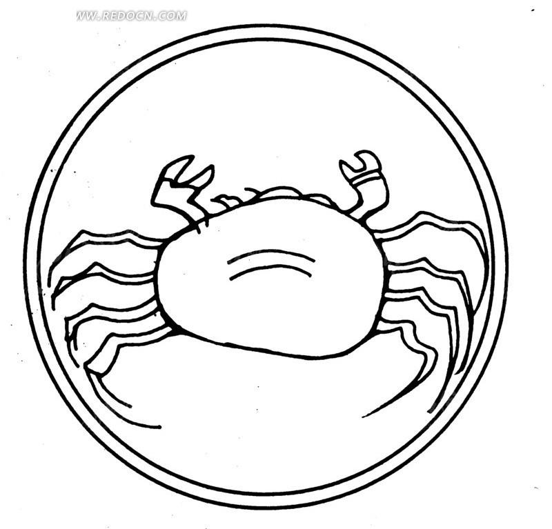 手绘螃蟹图案