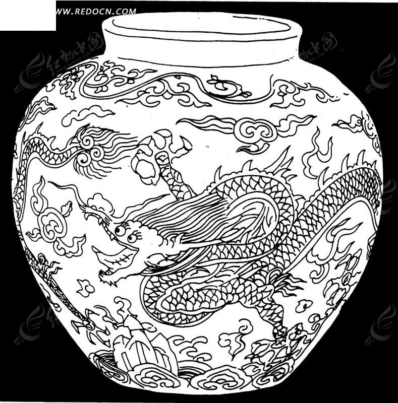 龙纹青花瓷 传统图案 纹样矢量图下载 1520709图片