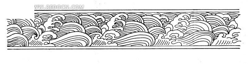 古代黑白海浪边框纹样图案矢量素材