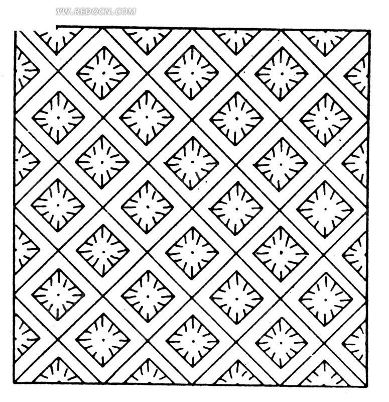 古代黑白几何图案矢量素材