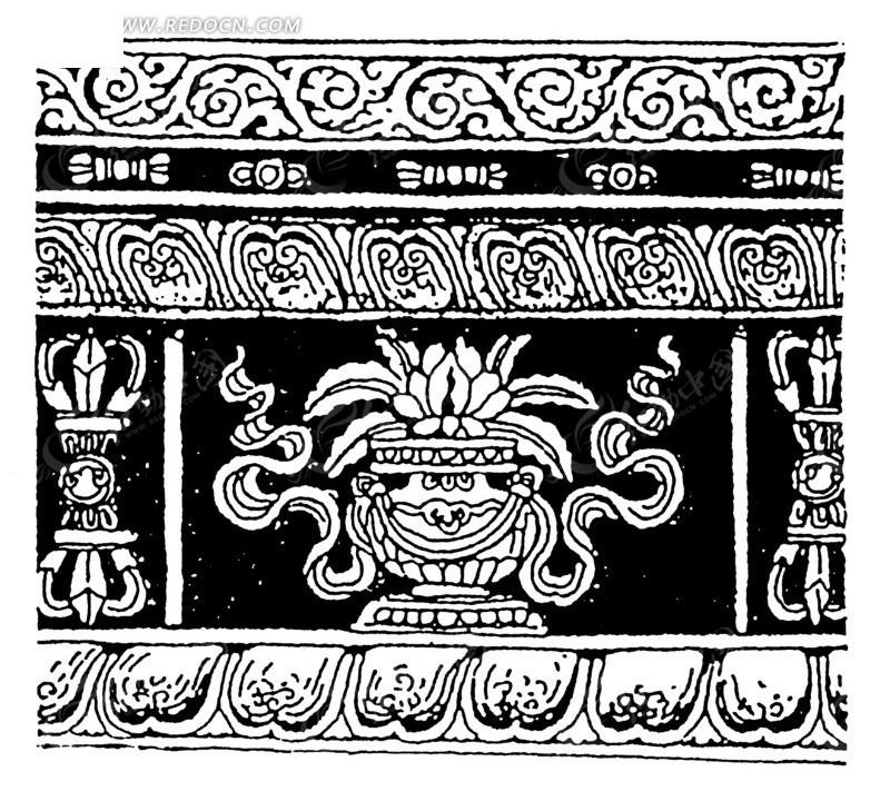 古代建筑雕刻花纹图案矢量素材图片