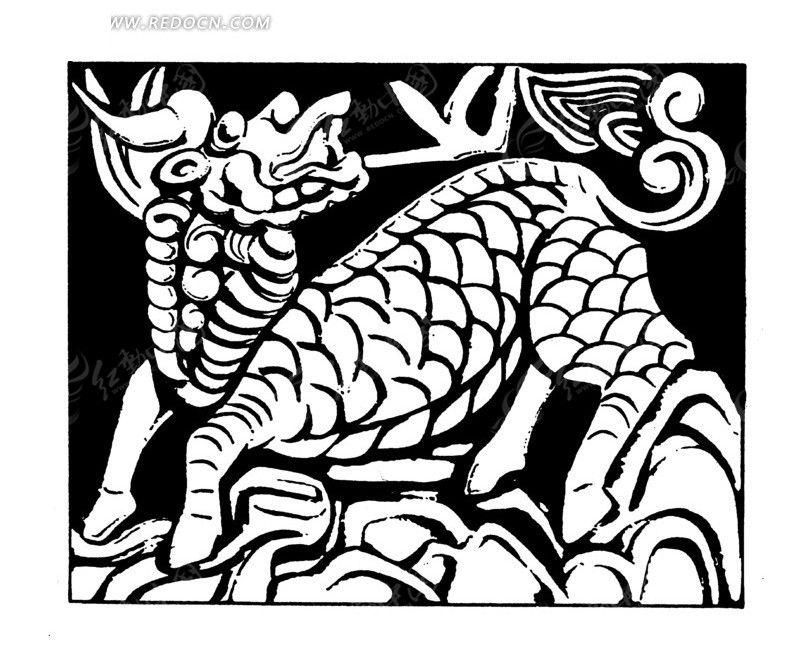 手绘 龙马 灵兽 龙鳞 木雕  传统图案 矢量素材