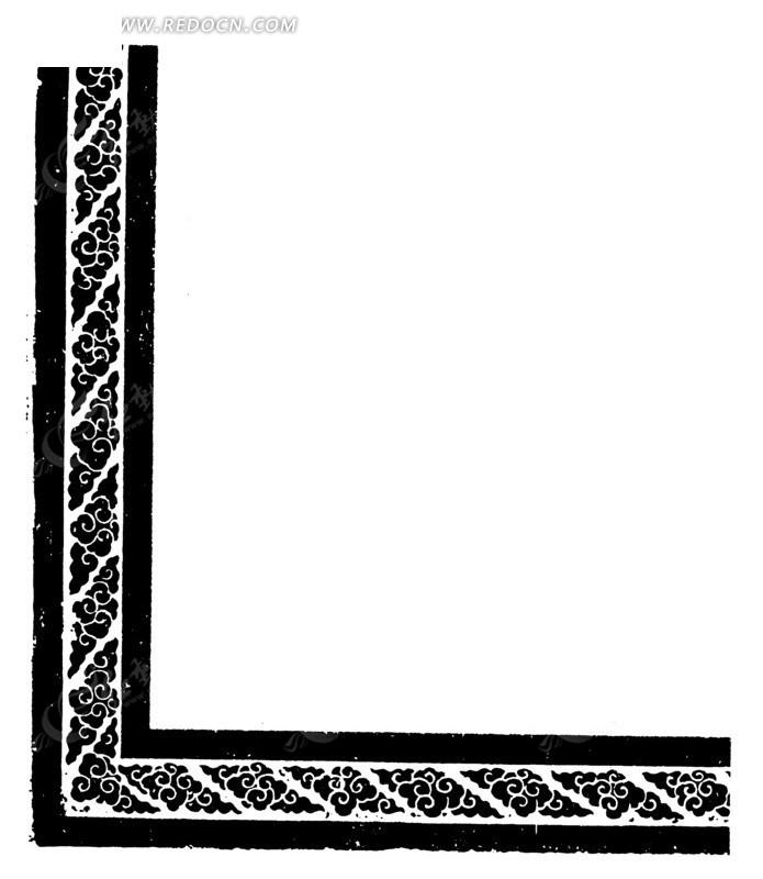 古代黑白边框纹样图案矢量素材