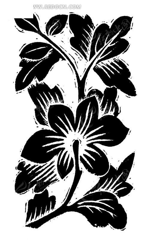 线描 映山红 植物 花朵 矢量 插画 传统图案 矢量素材