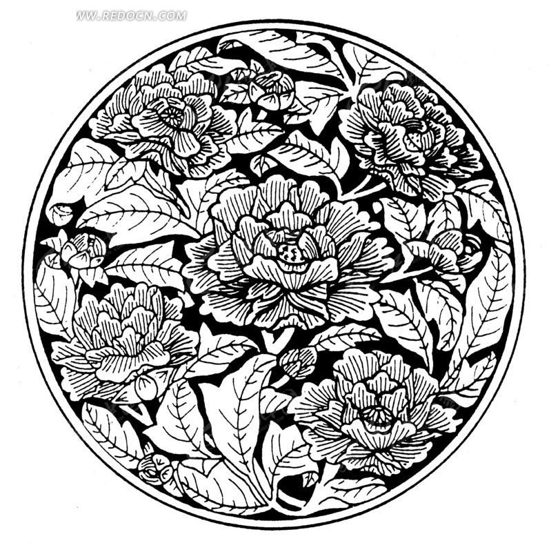 圆形中的美丽花朵和叶子线描图