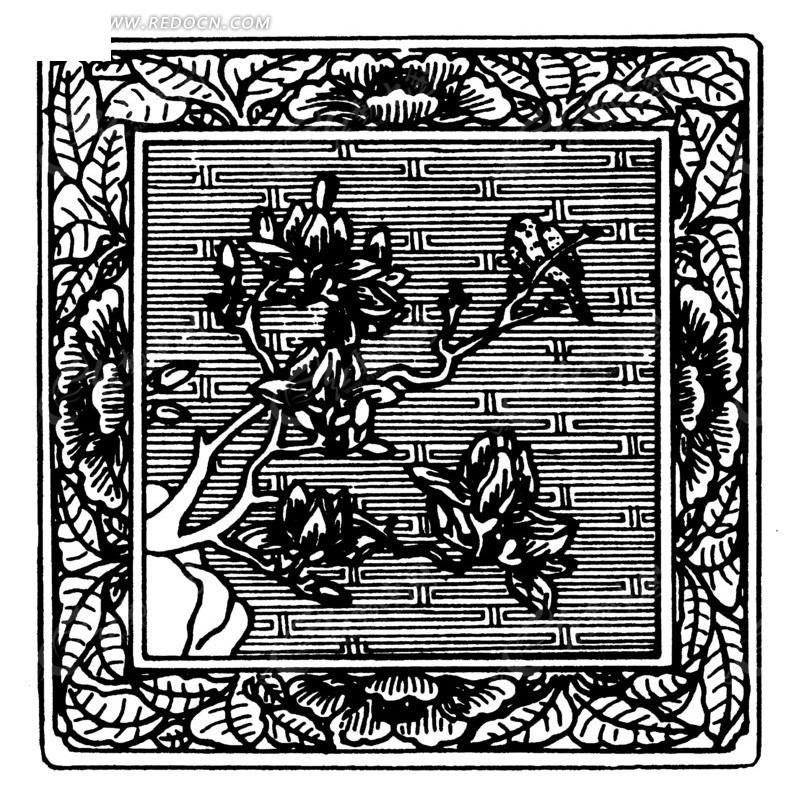 方形边框 叶子 植物 石头 生长的植物 树木 线描图  传统图案 矢量
