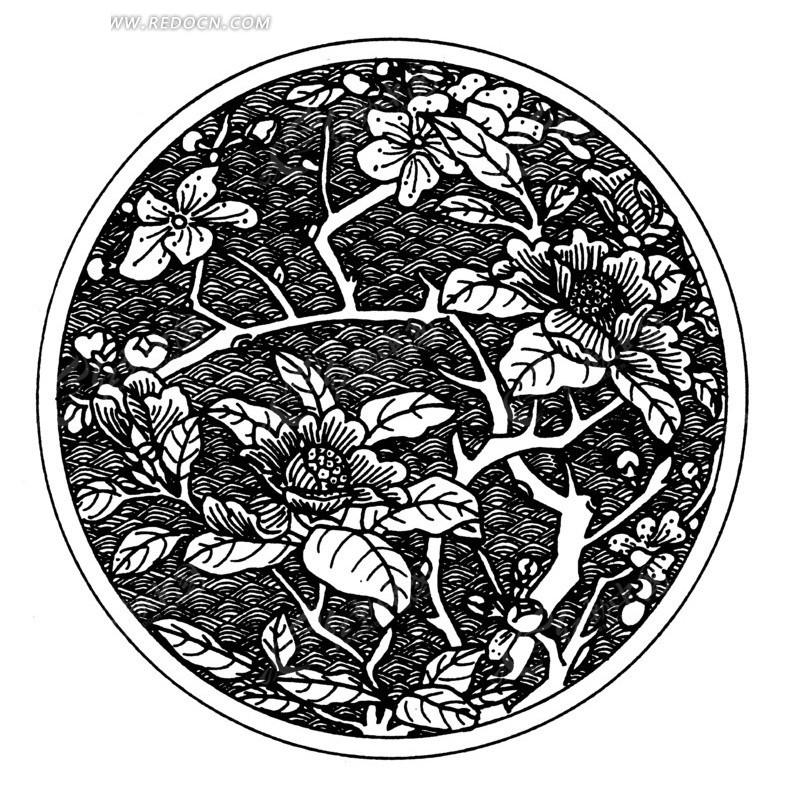 圆形中的波浪和花朵盛开的枝条线描图矢量图_传统图案