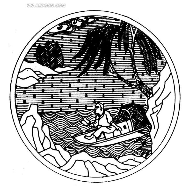 树木 水面 岩石 泛舟 古代人 船只 线描图 手绘 传统图案 矢量素材