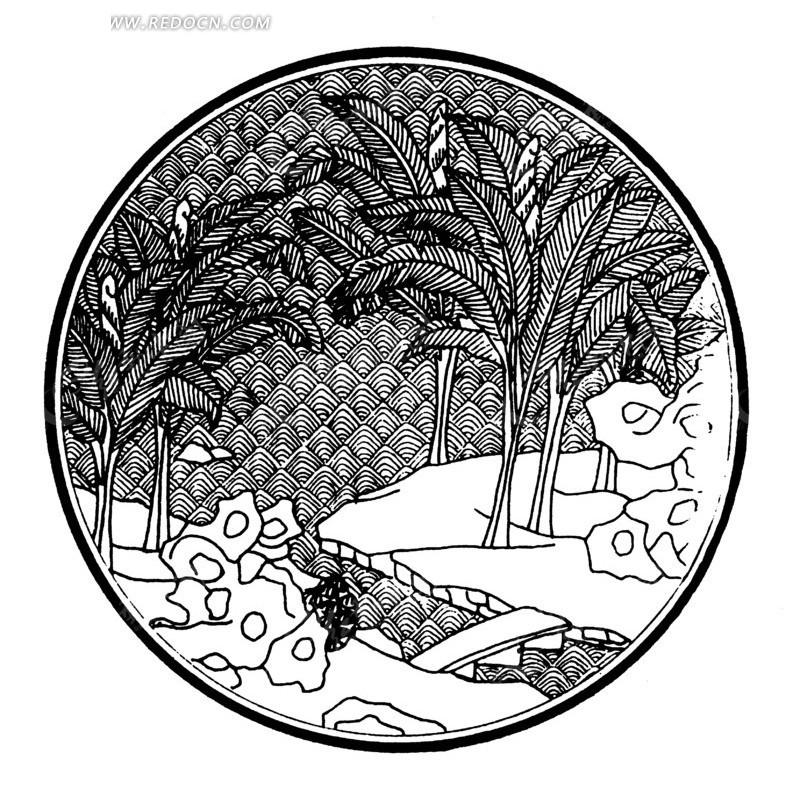 线描无花果树大图内容|线描无花果树大图版面设计