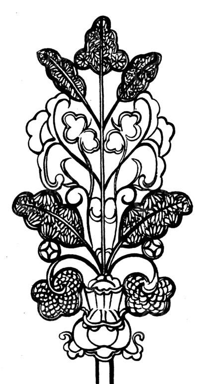 叶纹 卷曲纹 几何纹 簪子 簪头 古器 古代器物 古代器具 线描图 黑白