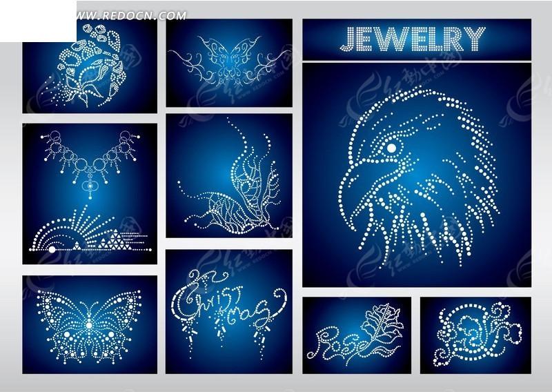 创意钻石组合花纹动物图案剪影矢量素材