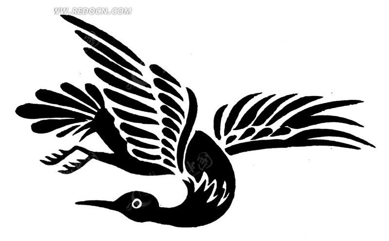 矢量手绘飞翔的鸟儿图案