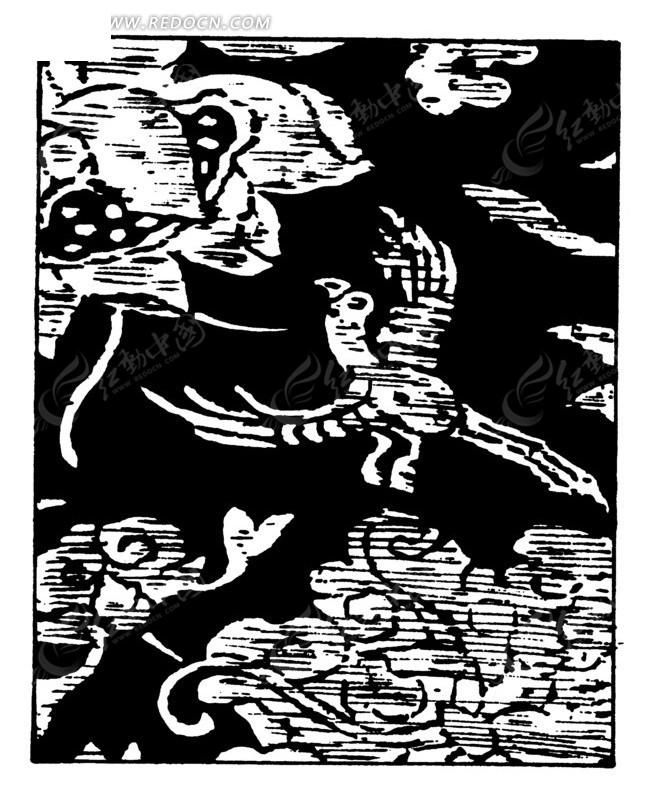 传统黑白飞鸟图案矢量素材