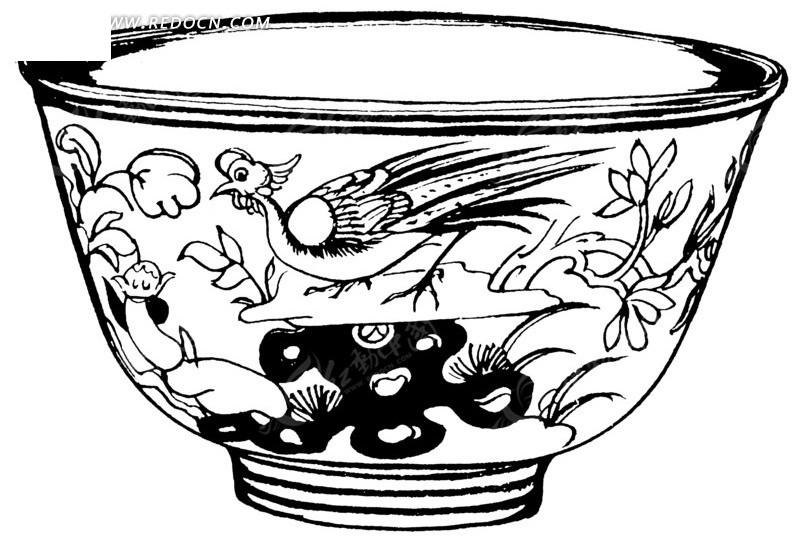 黑白手绘孔雀陶瓷花碗矢量素材ai免费下载_红动网