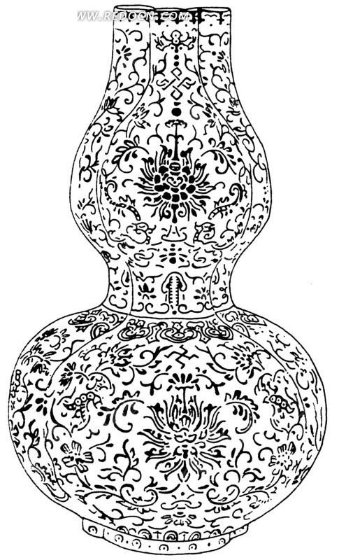 免费素材 矢量素材 艺术文化 传统图案 手绘古典花纹与花朵叶蔓葫芦形