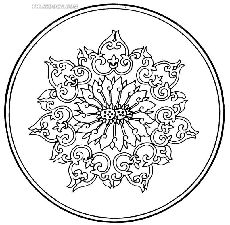 精美中国传统圆形花纹