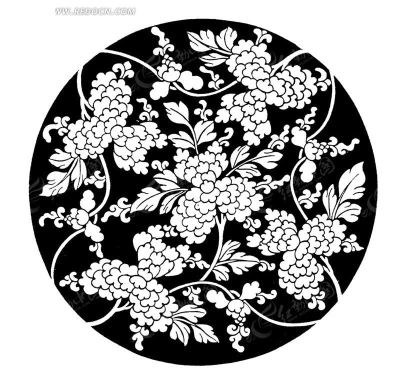 黑色圆形里花朵盛开的植物线描图