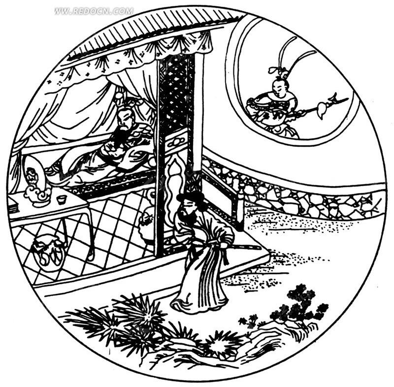 乘凉  桌子  草木 墙体 巡逻  侍从 官兵 黑白图案 圆形图案 ai矢量