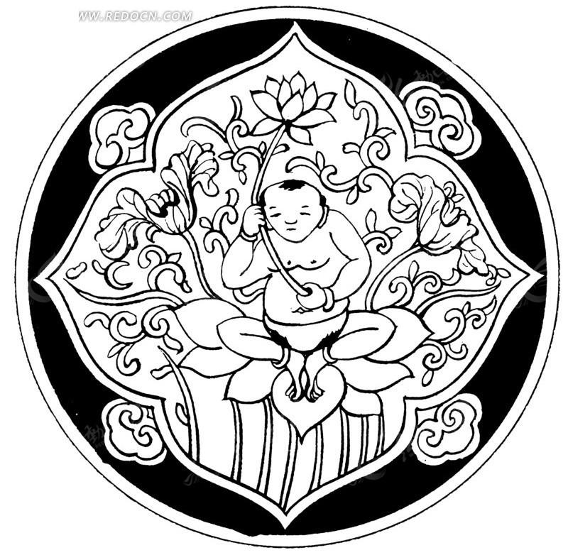 大肉棒的愹ai_传统图案手拿莲花小孩矢量素材ai免费下载_红动网