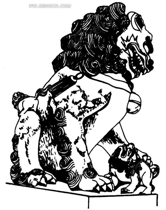 矢量手绘古代石狮子背影插画