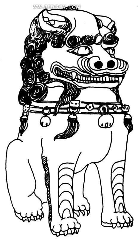 矢量手绘古代坐立的石狮子插画图形