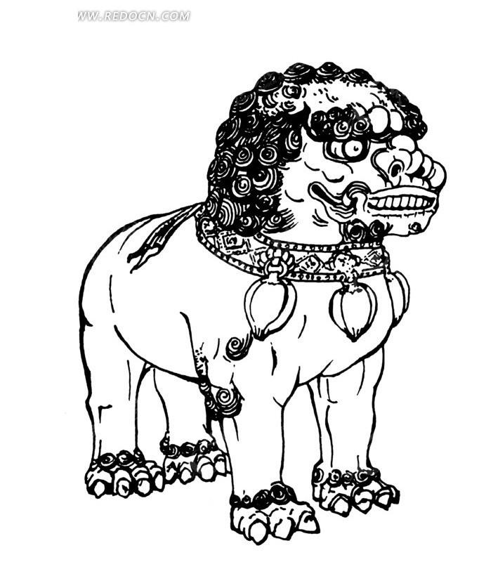 矢量古代传统石狮子插画线条