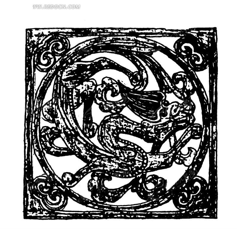 中国古典图案-龙纹和云纹构成的斑驳的方形图案图片