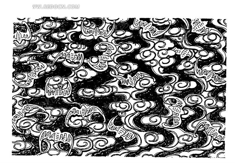 古代黑白蝙蝠祥云图案矢量素材设计图片  (800x585); 素材; 古代祥云