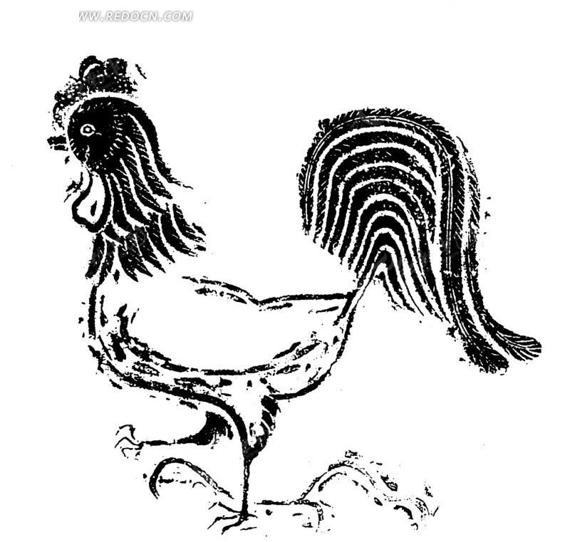一只公鸡白描图 传统图案|纹样矢量图下载编号