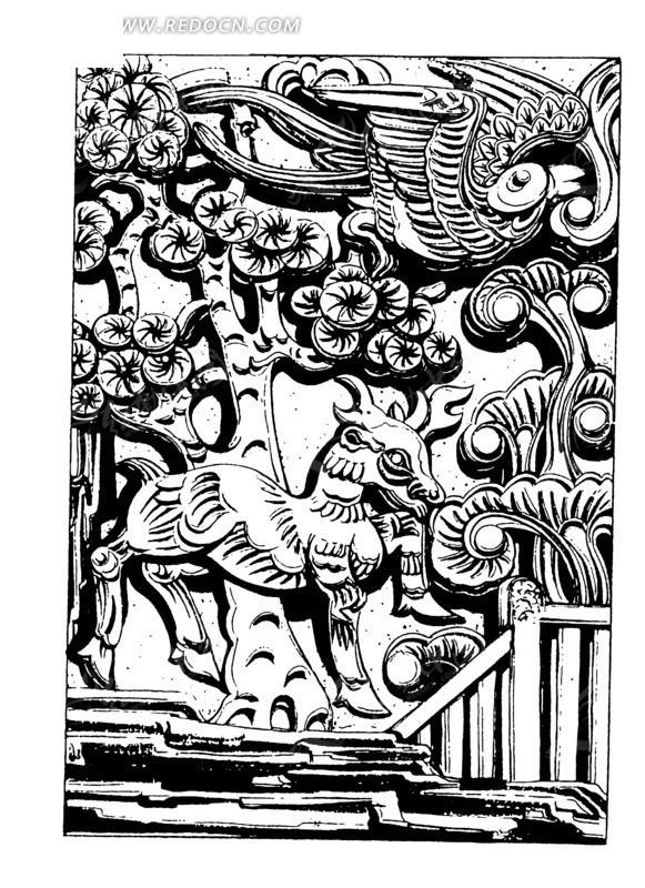 中国古典图案-树木下的动物和飞鸟