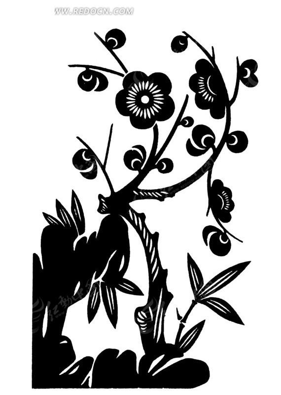 免费素材 矢量素材 艺术文化 传统图案 手绘竹叶边花朵盛开的树枝