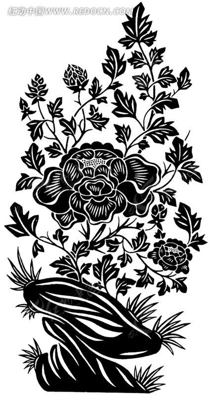 手绘石头边花朵盛开的植物矢量图_传统图案