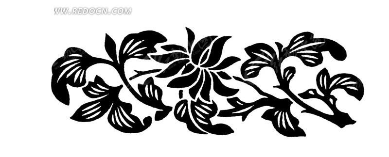 手绘黑色枝条上的花朵矢量图ai免费下载_传统图案素材
